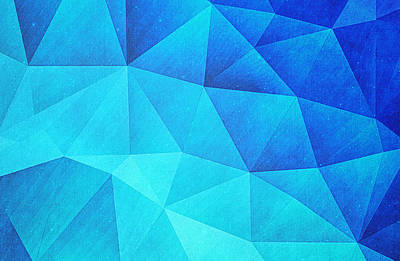 Abstract Polygon Multi Color Cubizm Painting In Ice Blue Art Print by Philipp Rietz