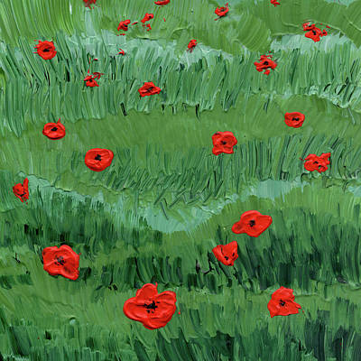 Abstract Flowers Royalty Free Images - Abstract Poppy Field Decorative Artwork I Royalty-Free Image by Irina Sztukowski