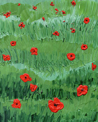 Painting - Abstract Poppy Field Decorative Artwork II by Irina Sztukowski