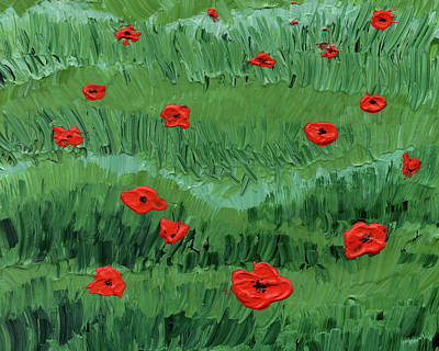 Painting - Abstract Poppy Field Decorative Artwork IIi by Irina Sztukowski