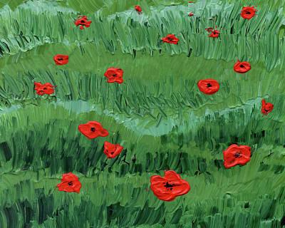 Abstract Flowers Royalty Free Images - Abstract Poppy Field Decorative Artwork III Royalty-Free Image by Irina Sztukowski