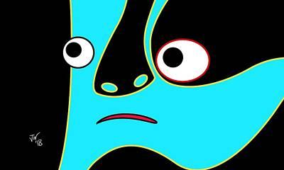 Digital Art - Abstract Portrait Blue Face by John Wills