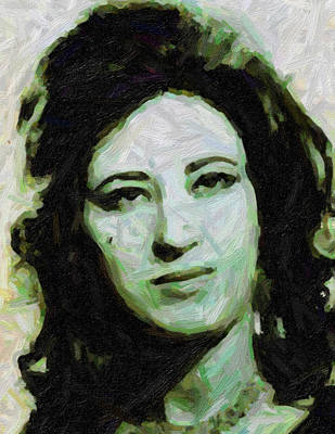 Painting - Abstract Protrait Of Kurdish Singer Ayse San by Adam Asar