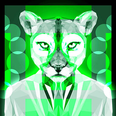 Tuxedo Cat Digital Art - Abstract Puma 4 by Gallini Design
