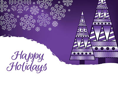 Digital Art - Abstract Purple Christmas Card by Serena King