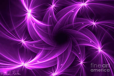 Digital Art - Abstract - Purple Comets by Michael Rucker