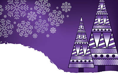 Digital Art - Abstract Purple Trees Christmas by Serena King