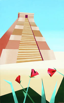 Abstract Pyramid Acrylic Painting By Artist Mark Webster Art Print