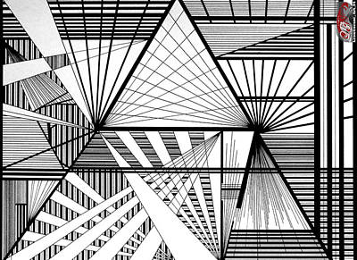Abstract Pyramid Linework Original Art Print