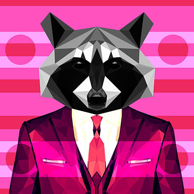Raccoon Digital Art - Abstract Raccoon by Gallini Design