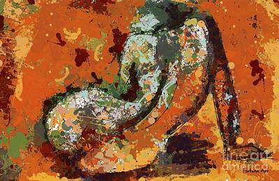Abstract Reclining Nude Art Print by Dragica Micki Fortuna