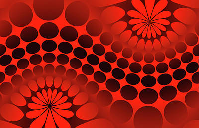 Contrast Digital Art - Abstract Red And Black Ornament by Vladimir Sergeev