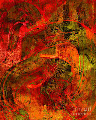 Printmaking Mixed Media - Abstract Red And Green by Laura L Leatherwood