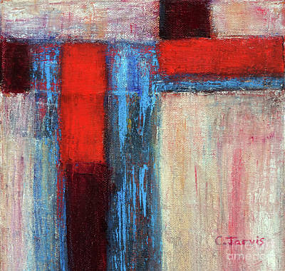 Painting - Abstract Red And Turquoise Stripes by Carolyn Jarvis