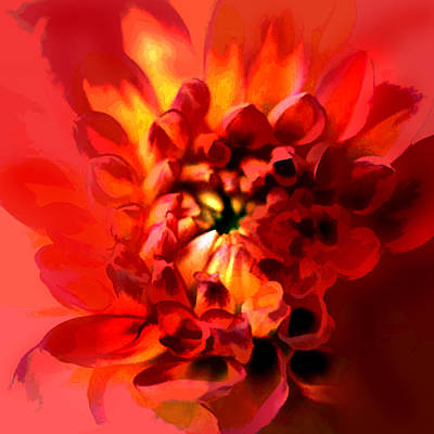 Mums Painting - Abstract Red Chrysanthemum by Elaine Plesser