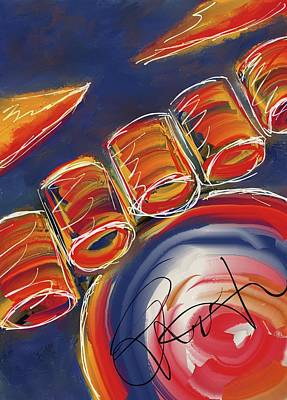 Digital Art - Abstract Red Drums by Eduardo Tavares