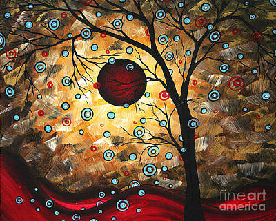 Abstract Red Moon Landscape Tree Art Terms Of Endearment By Megan Duncanson Art Print by Megan Duncanson