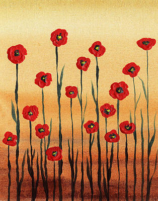 Painting - Abstract Red Poppy Field by Irina Sztukowski