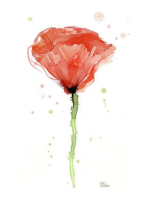Red Poppy Painting - Abstract Red Poppy Watercolor by Olga Shvartsur