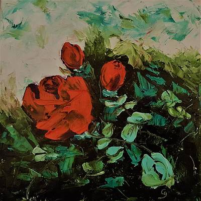 Painting - Abstract Red Roses            7 by Cheryl Nancy Ann Gordon
