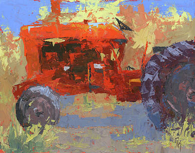 Painting - Abstract Red Tractor by David King