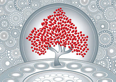 Digital Art - Abstract Red Tree With Silver Circles Greeting Card by Serena King