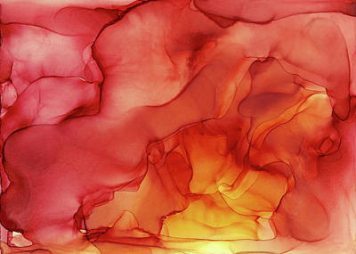 Ink Wall Art - Painting - Abstract Red Yellow Alcohol Ink Painting - Red Sunset by Olga Shvartsur