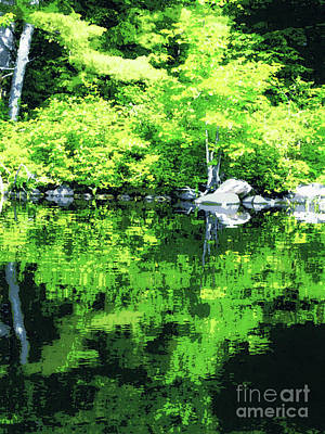 Photograph - Abstract Reflections On Gorham Pond by Susan Lafleur