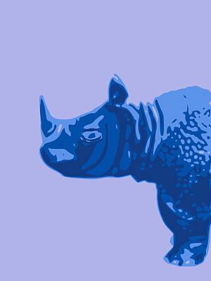 Teracotta Digital Art - Abstract Rhino Contours Blue by Keshava Shukla