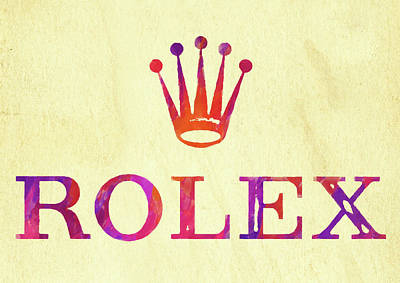 Photograph - Abstract Rolex Logo Watercolor II by Ricky Barnard