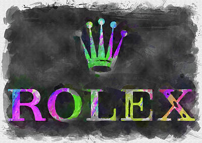 Photograph - Abstract Rolex Logo Watercolor by Ricky Barnard