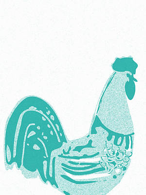 Teracotta Digital Art - Abstract Rooster Contours Cyan by Keshava Shukla