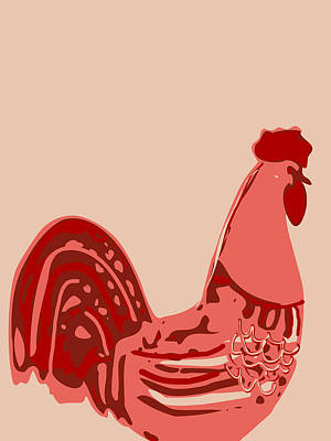 Digital Art - Abstract Rooster Contours by Keshava Shukla