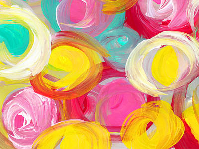 Painting - Abstract Rose Garden In The Morning Light 2 by Amy Vangsgard