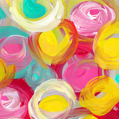 Abstract Forms Painting - Abstract Rose Garden In The Morning Light Square 1 by Amy Vangsgard