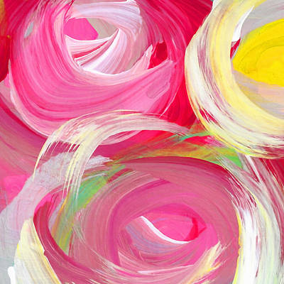 Painting - Abstract Rose Garden In The Morning Light Square 2 by Amy Vangsgard