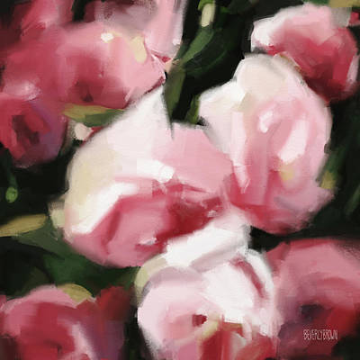 Abstract Rose Painting - Abstract Roses Dark And Light Pink by Beverly Brown