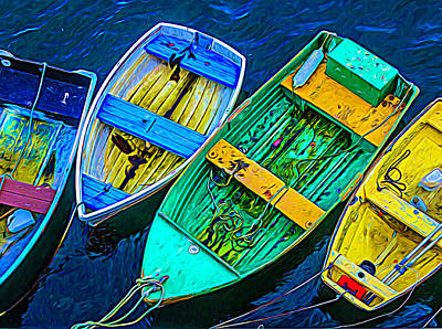 Photograph - Abstract Rowboats by Garry Gay