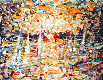 Painting - Abstract Sailing by Pete Caswell