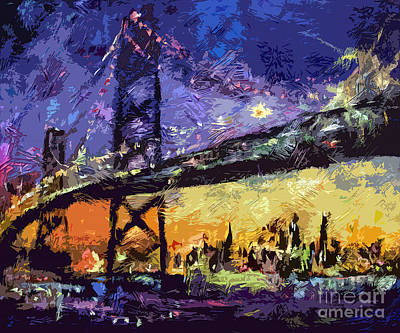 Bay Bridge Mixed Media - Abstract San Francisco Oakland Bay Bridge At Night by Ginette Callaway