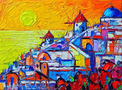 Painting - Abstract Santorini Oia Sunset 8 Cityscape Impasto Palette Knife Oil Painting By Ana Maria Edulescu by Ana Maria Edulescu