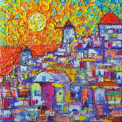 Painting - Abstract Santorini Oia Sunset Floral Sky Impressionist Palette Knife Painting  Ana Maria Edulescu by Ana Maria Edulescu