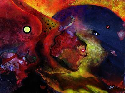 Abstract Digital Painting - Abstract Scenery Red,yellow, Blue by Wolfgang Schweizer