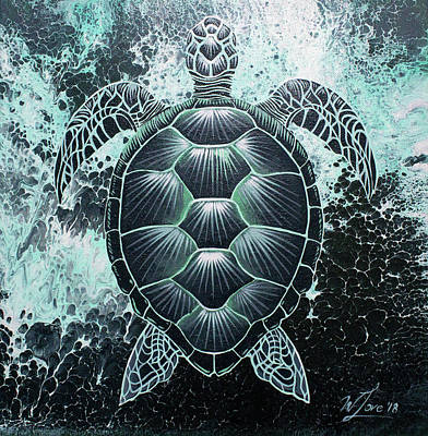 Painting - Abstract Sea Turtle by William Love
