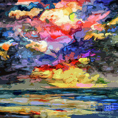 Ginette Mixed Media - Abstract Seascape Sunrise by Ginette Callaway