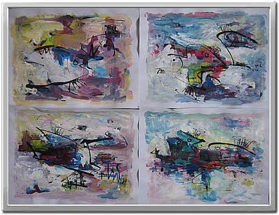 Set Of Four Painting - Abstract Sketch245 by Seon-Jeong Kim