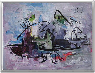 Set Of Four Painting - Abstract Sketch248 by Seon-Jeong Kim