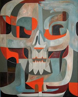 Painting - Abstract Skull #148 Thinking Skeleton by Joseph York