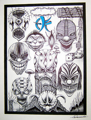 Abstract Skulls Killer Clowns Barb Wire Original