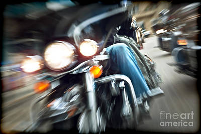 Abstract Movement Photograph - Abstract Slow Motion Bikers Riding Motorbikes by Anna Om
